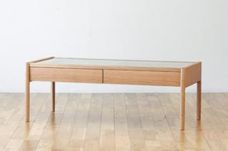 ホワイトオーク無垢材リビングテーブル(ガラス天板)